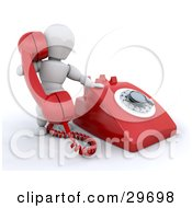 Clipart Illustration Of A White Character Holding Up A Red Landline Telephone Receiver While Making A Call