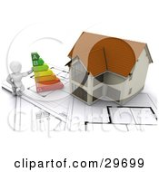 Clipart Illustration Of A White Character Leaning Against An Energy Rating Graph By A New Home Resting On Blueprints by KJ Pargeter