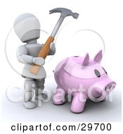 White Character Holding A Hammer Over A Pink Piggy Bank In Need Of Money