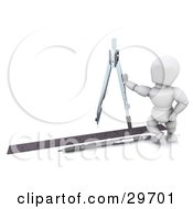 Clipart Illustration Of A White Character Architect Leaning Against A Compass A Pen And Ruler On The Ground by KJ Pargeter