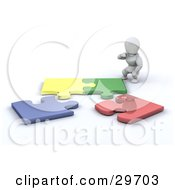 Clipart Illustration Of A White Character Crouching And Trying To Assemble A Puzzle