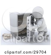 Clipart Illustration Of A White Character Opening Or Closing A Personal Safe To Make A Withdrawal Or Deposit