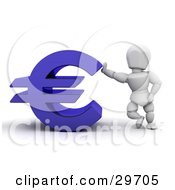 Clipart Illustration Of A White Character Leaning Against A Blue Euro Symbol