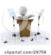 White Character Gesturing While Giving A Speech Behind A Podium