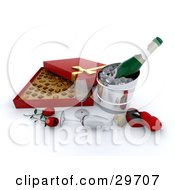 Clipart Illustration Of An Open Box Of Valentines Day Chocolates Red Roses Wine Glasses Champagne And A Ring