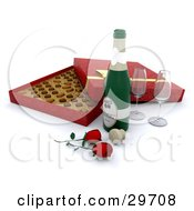 Two Wine Glasses Red Roses A Cork And Bottle Of Champagne In Front Of An Open Box Of Valentines Day Chocolates