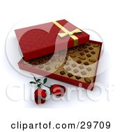 Clipart Illustration Of Two Red Roses Resting In Front Of An Open Box Of Valentines Day Chocolates
