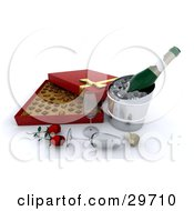 Clipart Illustration Of A Bottle Of Bubbly Chilling On Ice By Two Wine Glasses A Cork Red Roses And A Box Of Chocolates