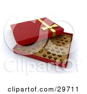 Clipart Illustration Of An Open Red Box Of Valentines Day Chocolates