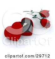 Clipart Illustration Of An Engagement Ring In A Heart Shaped Box By Two Red Roses by KJ Pargeter
