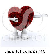 Clipart Illustration Of A Furry Red Heart Character With White Arms And Legs Holding One Arm Out To The Right