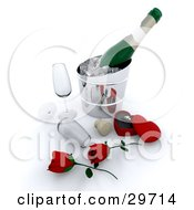 Clipart Illustration Of A Couple Of Red Roses Champagne Glasses Cork And Ring By A Bottle Of Wine Chilling On Ice