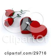 Clipart Illustration Of Red Roses Beside A Gold Engagement Ring In A Box