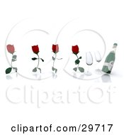 Clipart Illustration Of Four Red Roses Running With Petal Legs Towards Wine Glasses And A Bottle Of Champagne