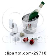 Clipart Illustration Of A Bottle Of Champagne Chilling On Ice With Two Wine Glasses A Cork And Red Roses
