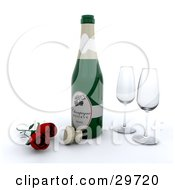 Clipart Illustration Of Two Red Roses By A Cork To A Bottle Of Champagne And Two Wine Glasses