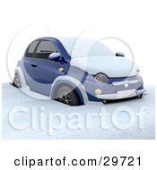 Clipart Illustration Of A Blue Compact Car Stuck And Covered In Snow In A Cold Winter Day