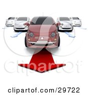 Clipart Illustration Of A Red Compact Car Over A Red Arrow In Front Of Four White Cars On Arrows In A Car Lot