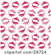Clipart Illustration Of A Background Of Sexy Red Lipstick Kiss Imprints On White by KJ Pargeter