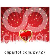 Clipart Illustration Of A Red Heart Bordered In Gold On A Red Background With Rays Of Light Gold Stars And White Grunge