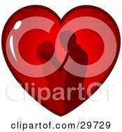 Clipart Illustration Of A Silhouetted Couple Passionately Embracing Inside A Red Heart On A White Background