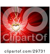 Clipart Illustration Of A Golden Heart Pendant Hanging Down Over A Burst Of Light With Gold Stars On A Red Background