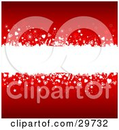 White Grunge Text Bar Spanning The Center Of A Red Background With White And Red Stars Hearts And Sparkles