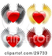 Clipart Illustration Of A Set Of Red Shiny Hearts With Black Gold Gray And Red Wings