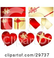 Set Of Gold And Red Rectangle Square And Heart Shaped Gifts And Tags With Ribbons And Bows