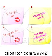 Set Of Four Pink And Yellow Messages With Lipstick Kisses And Love Notes Pinned To A White Background