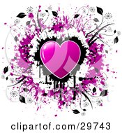 Clipart Illustration Of A Purple Shiny Heart Over A Cluster Of Black Dripping Grunge On A White Background With A Circle Of Purple Grunge And Black Vines