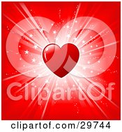 Clipart Illustration Of A Shiny Red Heart Over A Red Background With A Bright White Burst Of Light And Stars