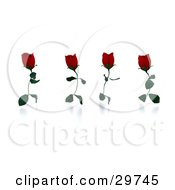 Clipart Illustration Of Four Running Red Roses With Leaves As Legs