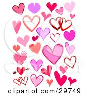 Clipart Illustration Of A Set Of Solid And Outlined Pink Purple And Red Hearts Single And Entwined And One With An Arrow Through It
