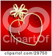 Clipart Illustration Of A Red Swirl Patterned Heart Tag With A Gold Ribbon On A Red Background by KJ Pargeter