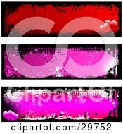 Set Of Three Red And Pink Grunge Website Banners Or Headers With Black Grunge Borders And Hearts