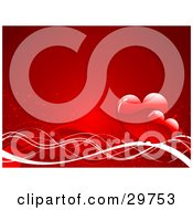 Clipart Illustration Of Two Red Hearts On Waves Of Red And White On A Gradient Red Background
