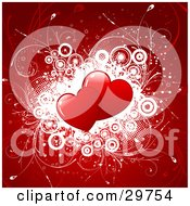 Clipart Illustration Of Two Red Hearts Over A Cluster Of White Circles With Vines On A Background Of Red