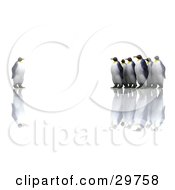 Clipart Illustration Of A Group Of Penguins Staring At An Individual One Symbolizing Standing Out From The Crowd by KJ Pargeter