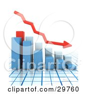 Clipart Illustration Of A Red Arrow Curving Downwards With Bar Graphs Showing A Decrease On A Grid Surface And White Background by KJ Pargeter