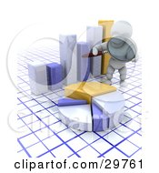 Clipart Illustration Of A White Character Auditor Inspecting A Pie Chart And Bar Graph With A Magnifying Glass On A Grid Surface by KJ Pargeter