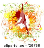 Clipart Illustration Of A Red Silhouetted Woman Leaping Over A Green Yellow And Orange Grunge Background Of Vines Circles And Butterflies