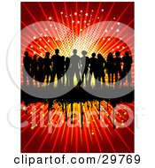 Clipart Illustration Of A Silhouetted Group Of People Standing Together On A Black Grunge Bar On A Red Background Of Stars