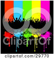 Clipart Illustration Of A Silhouetted Crowd Of People At A Concert On A Black Grunge Bar With Red Blue Green Yellow And Pink Dripping Lines