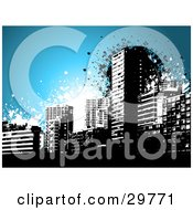 Clipart Illustration Of A Black Grunge City Skyline Over Blue With Black And White Splatters