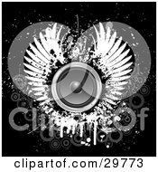Clipart Illustration Of A Pair Of White Wings Around A Circle Speaker On A Black Grunge Background With Faded Gray Circles by KJ Pargeter