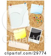 Clipart Illustration Of A Cork Board With Push Pins Blank Messages And A Polaroid Picture by KJ Pargeter