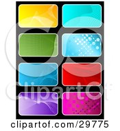 Clipart Illustration Of A Set Of Eight Yellow Blue Green Red Purple And Pink Backgrounds On Black