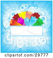 Clipart Illustration Of A Colorful Orange Red Pink Yellow Green And Blue Bursting Stars On A Blank Text Bar Over A Blue Background Of Light Rays And Circles