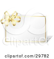 Clipart Illustration Of A Blank White Card Bordered In Gold With A Golden Bow